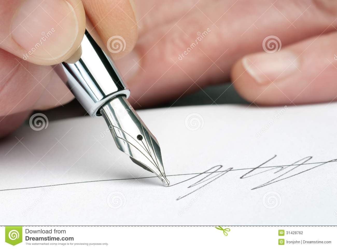 Fountain pen with signature