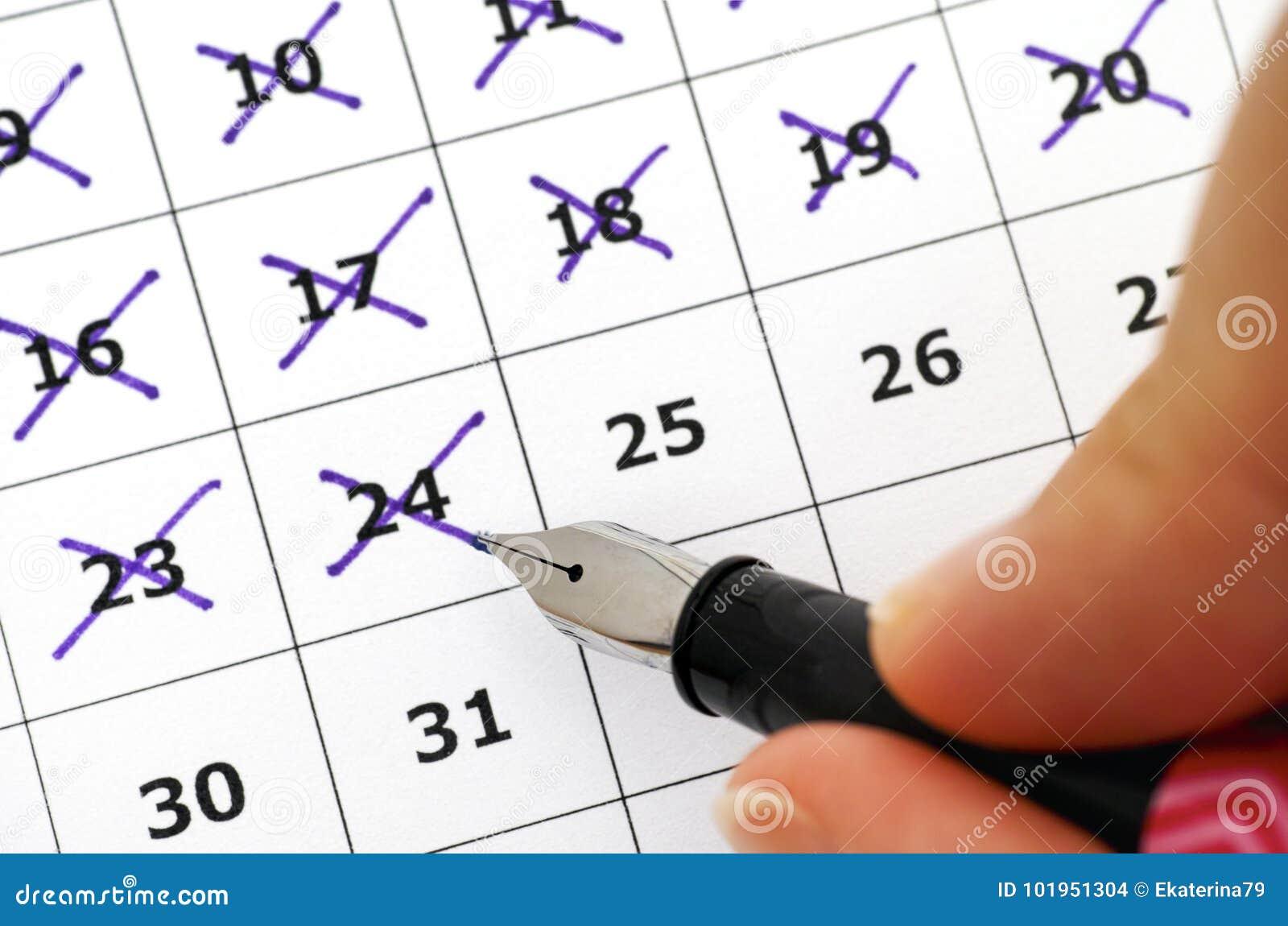 Fountain Pen In Woman Hand Marking Days Calendar Stock Photo Parts Diagram