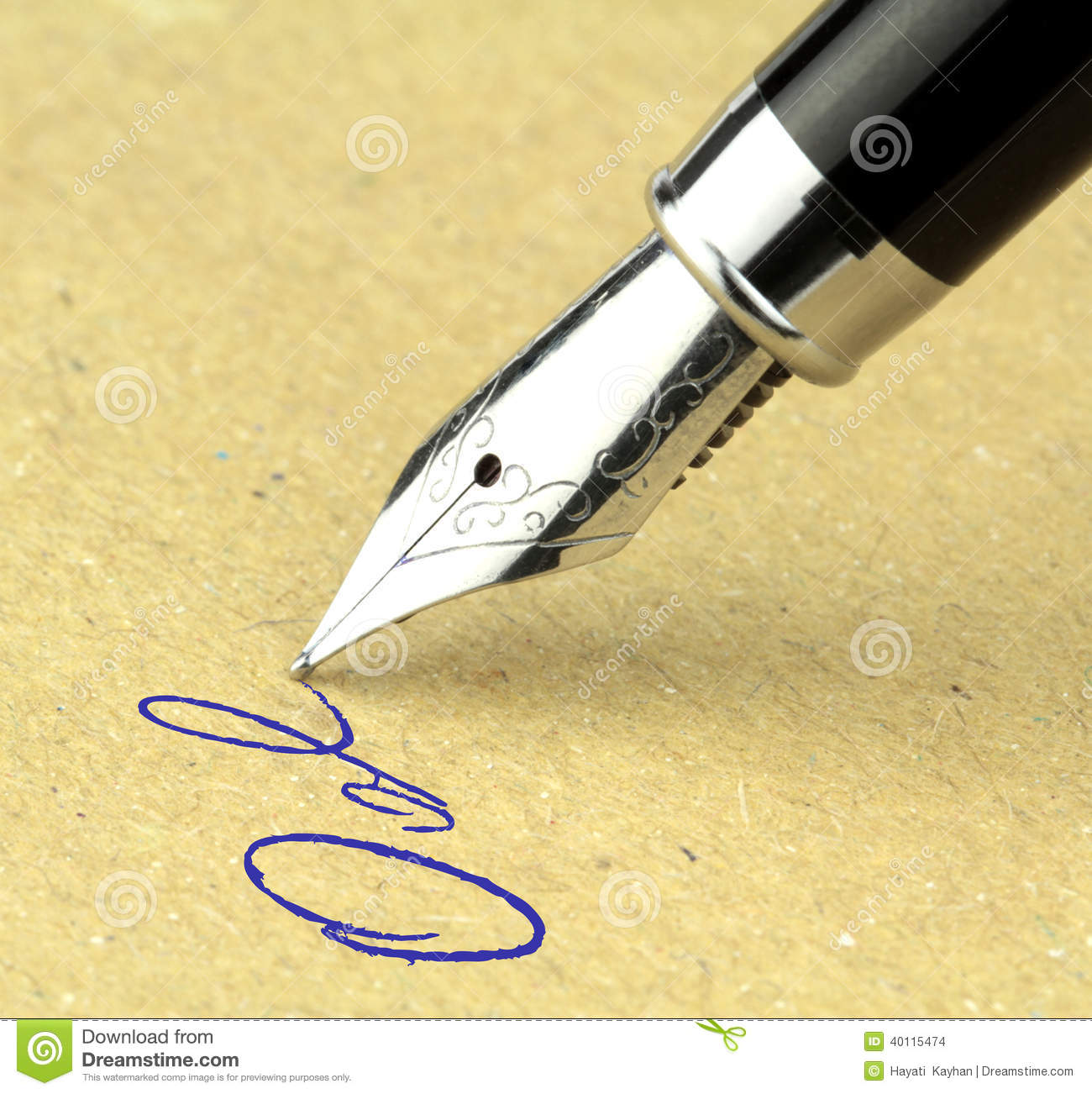 Fountain pen writing on the paper stock photo image Ballpoint pen calligraphy