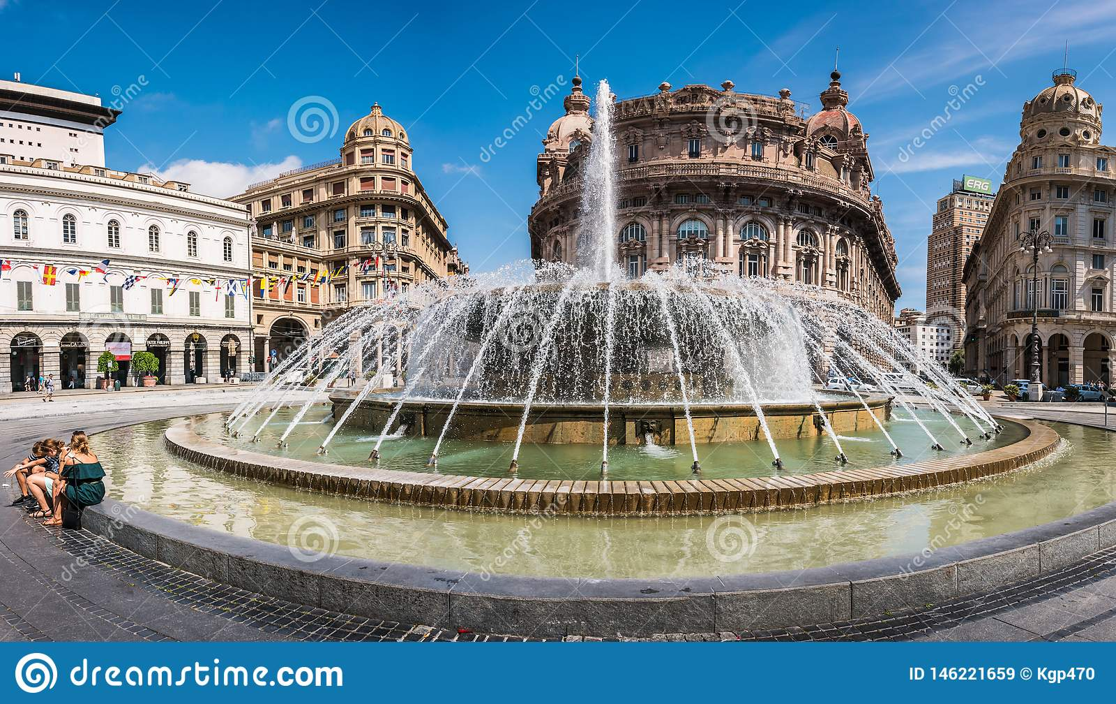 Fountain on Piazza Raffaele de Ferrari in Genoa - the heart of the city, Liguria, Italy