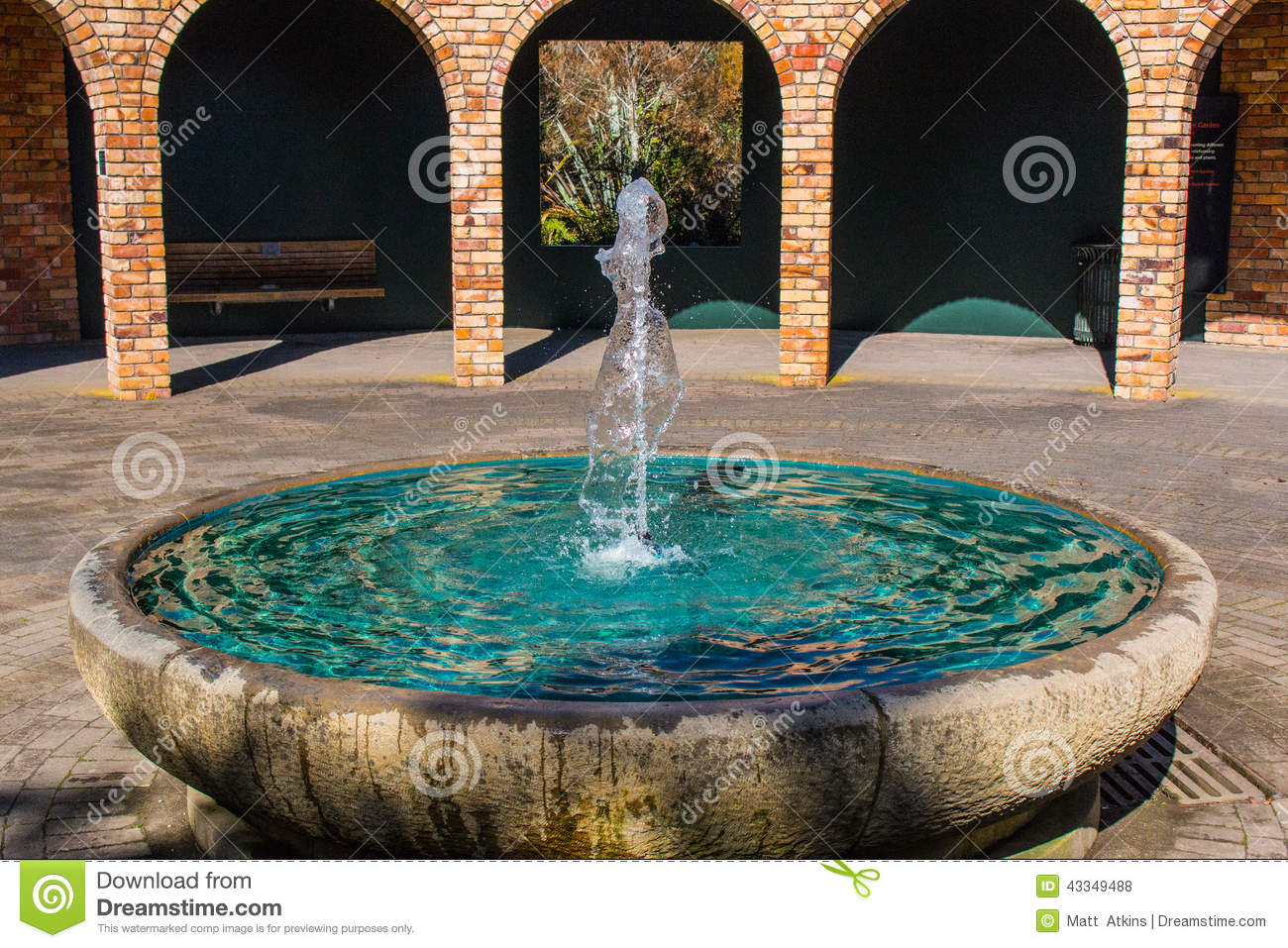 Fountain With Pillars In The Back Gorund Stock Photo Image 43349488