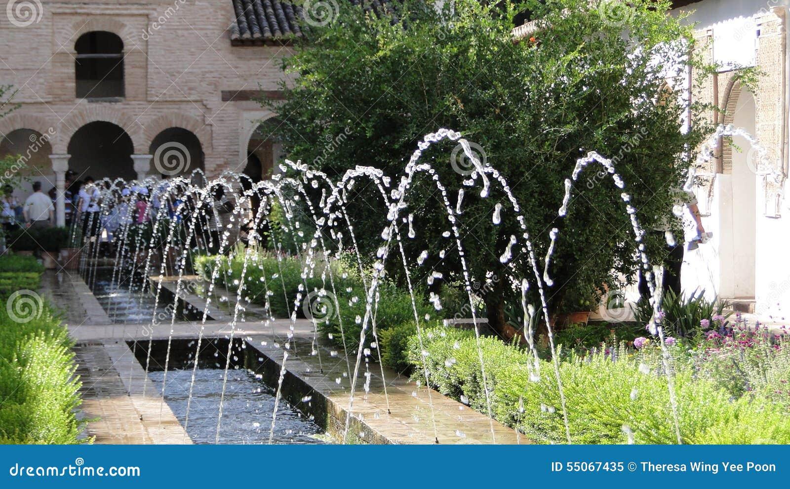 Fountain pool in the Alhambra garden, Granada