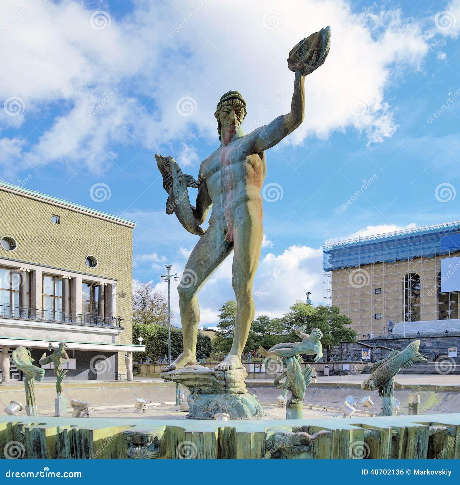 Fountain Poseidon In Gothenburg Sweden Editorial Photo