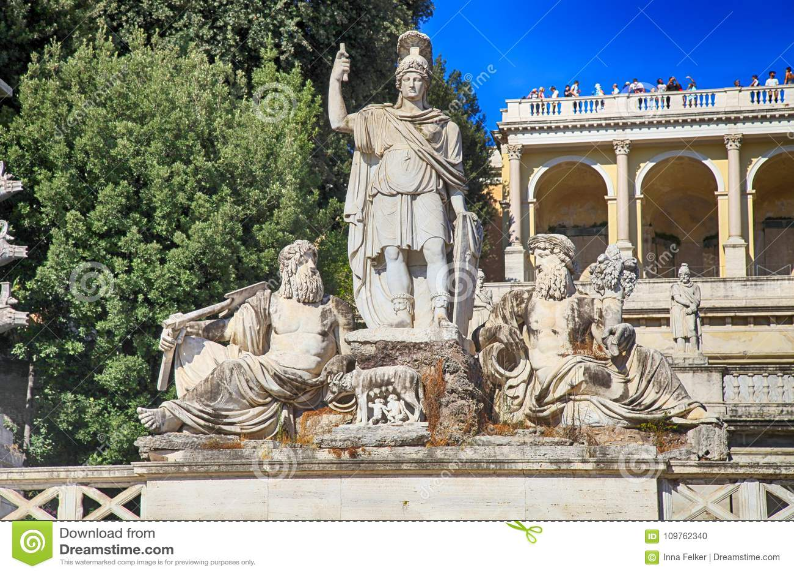 Fountain Of Rome S Goddess And Terrace De Pincio Terrazza