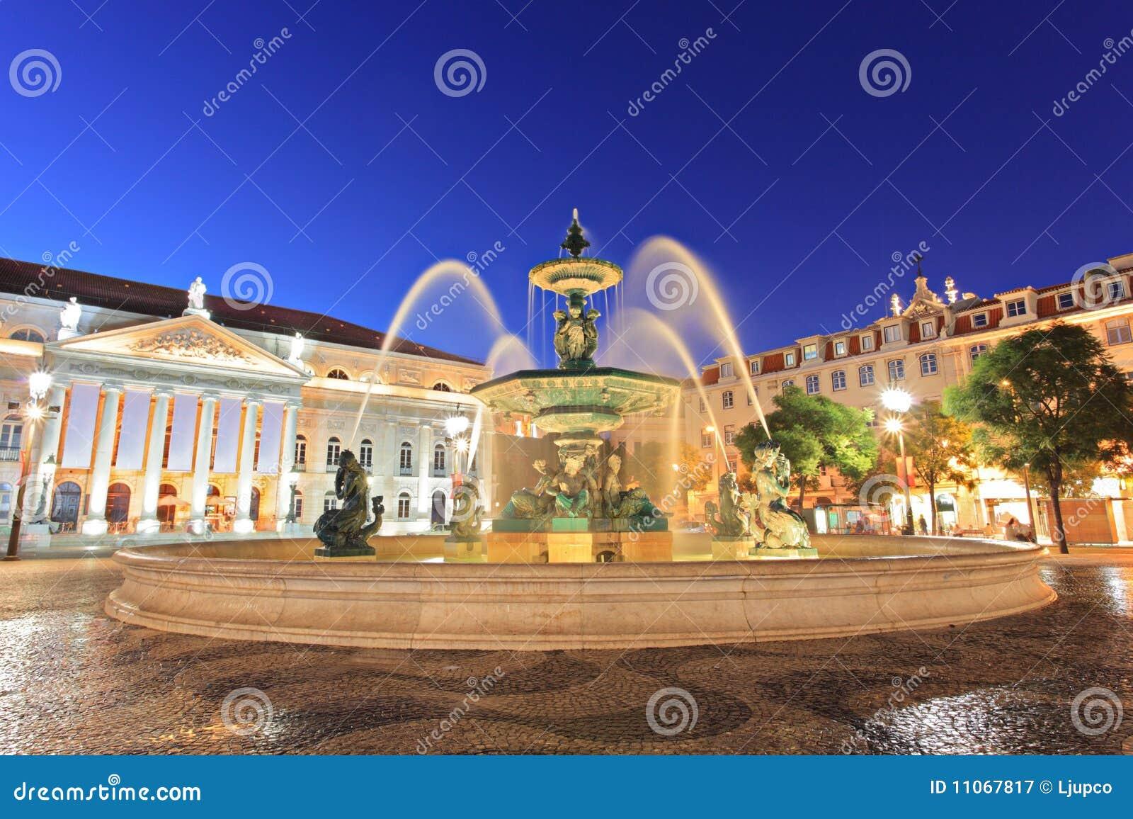 Fountain at Rossio square, Lisbon
