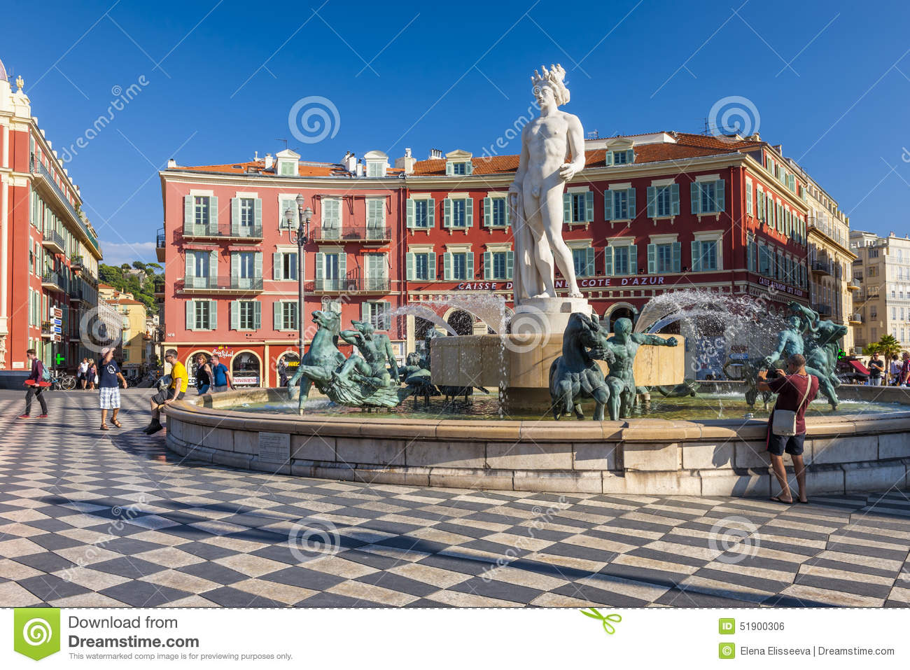 Fountain of the sun at place massena in nice editorial photo image 51900306 - Place massena nice ...