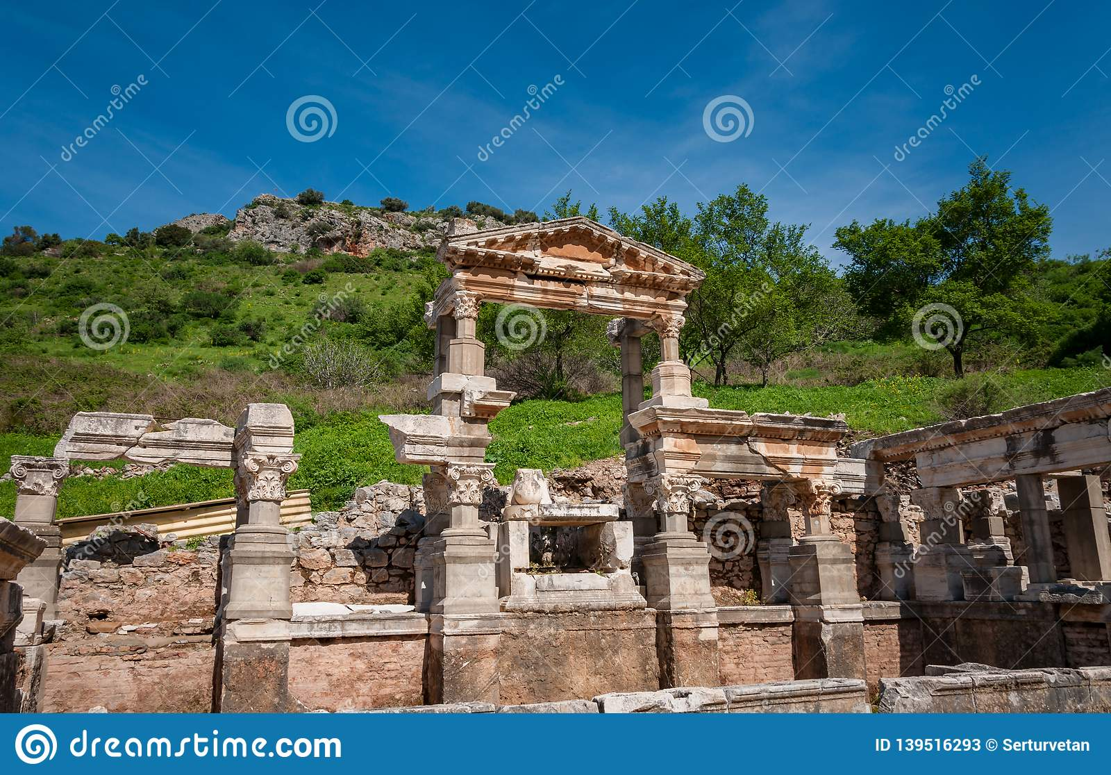 The Fountain of Traianus in Ephesus Ancient City, Izmir, Turkey.The ancient city is listed as a UNESCO World Heritage Site