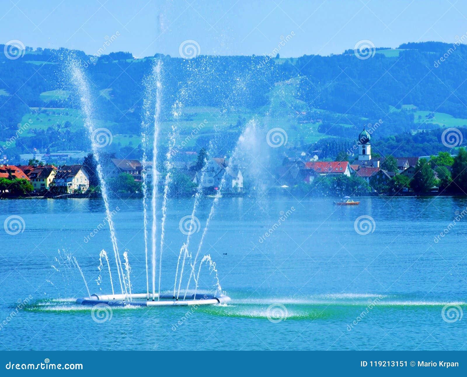 fountain, water, rainbow, sky, lake, geneva, city, sea, blue, river, park, boat, spray, jet, waterfall, summer, night, travel