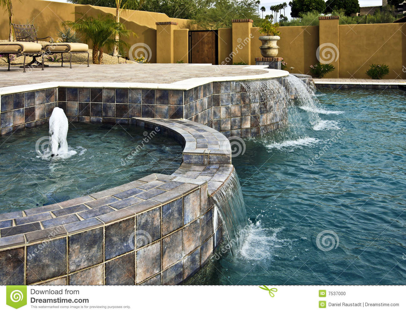 Fountain And Waterfall Pool Stock Photo Image Of Granite Building 7537000