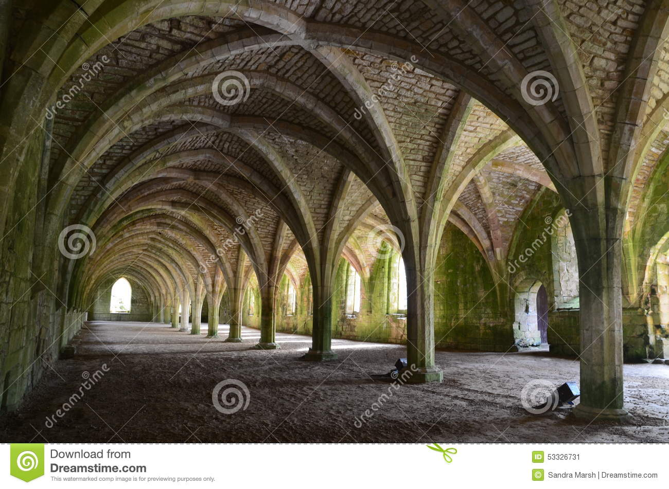 Download Fountains Abbey stock image. Image of religion, arch - 53326731