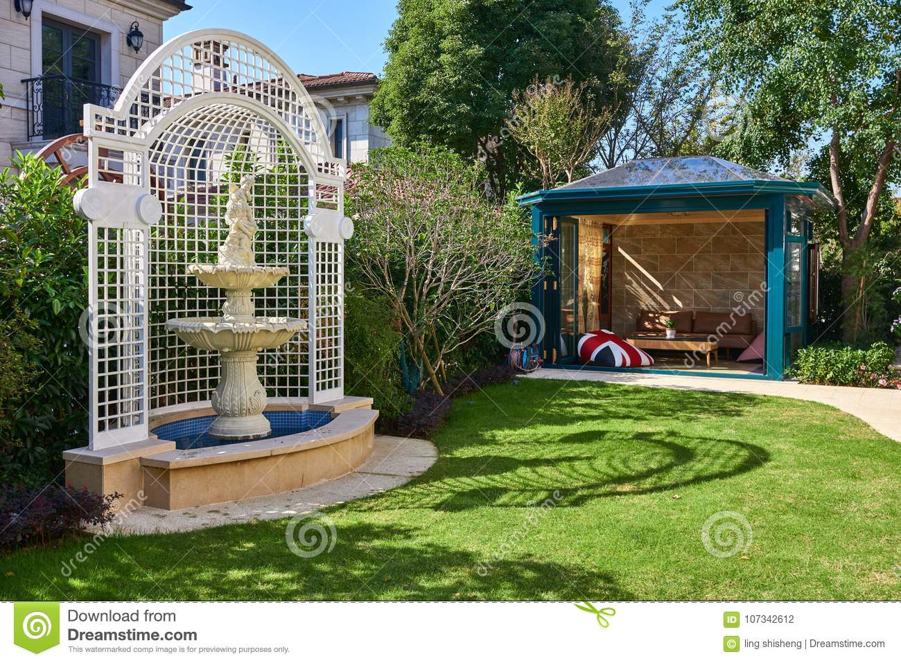 Download Fountains And Chalets In The Garden Stock Photo   Image Of  Flowers, Residential: