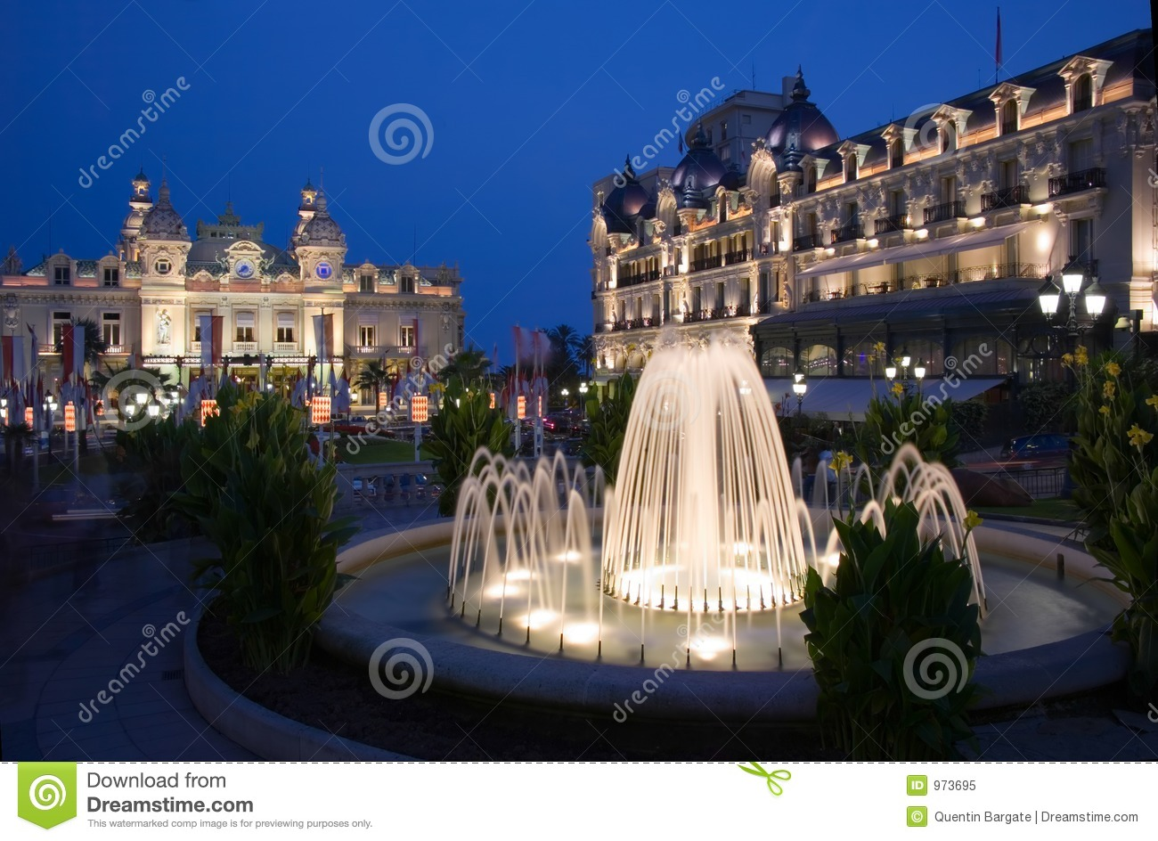 Fountains At Dusk In Casino Square In Monaco Stock Image   Image ...
