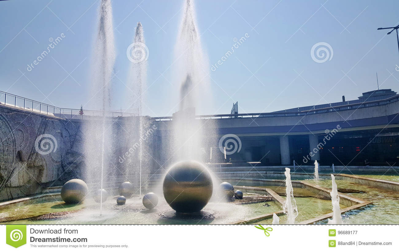 Fountains in front of the National Palace of Culture, Sofia, Bulgaria