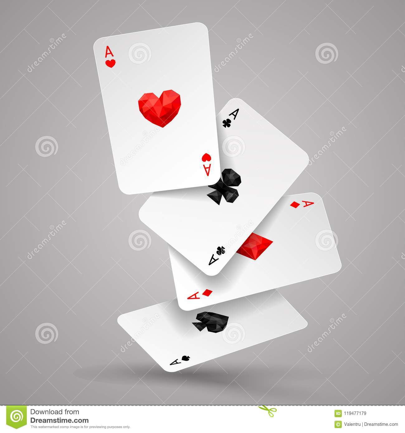Set of four ace playing cards fly or falling