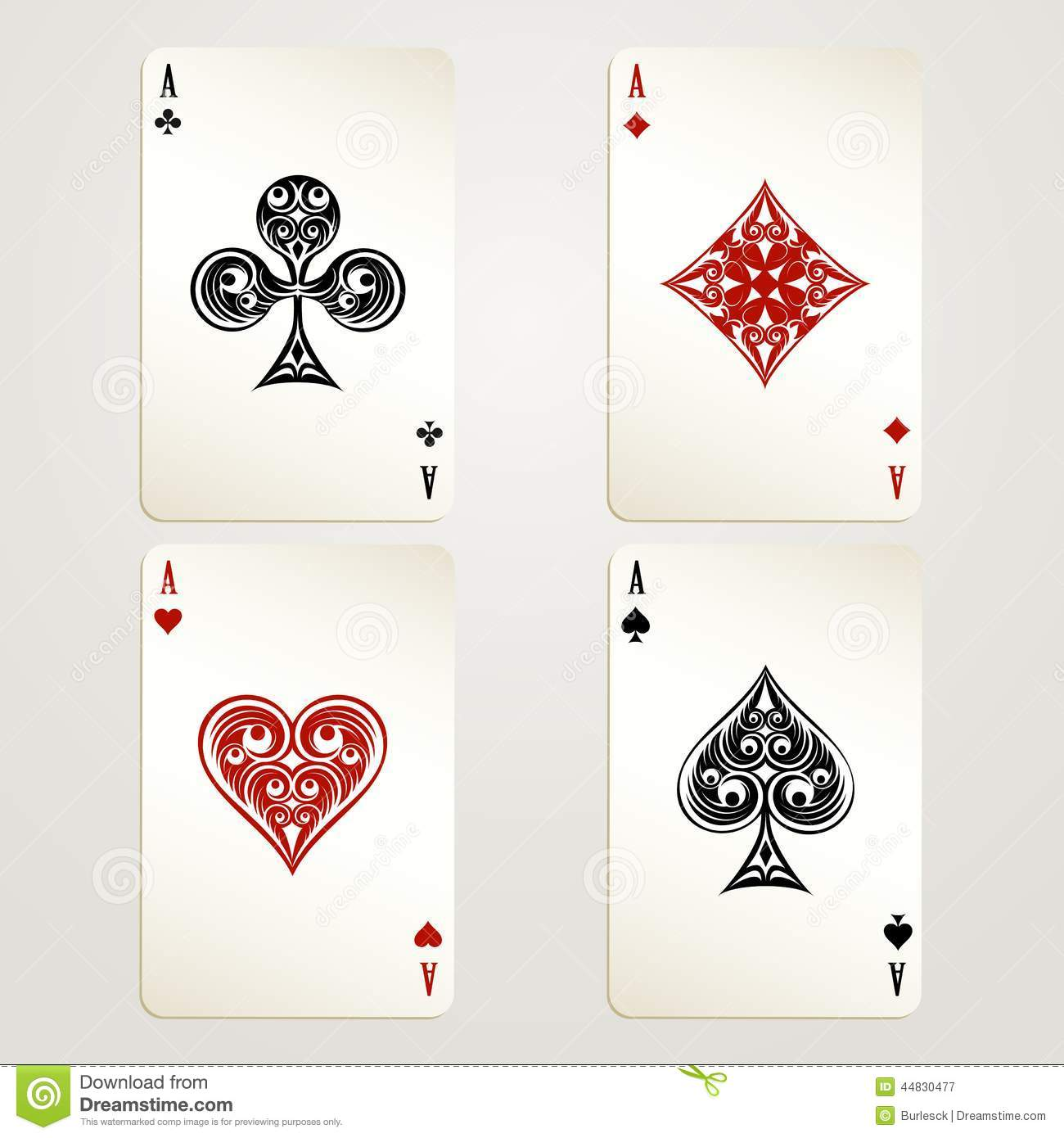 Four aces playing cards vector designs showing each of the four suits ...