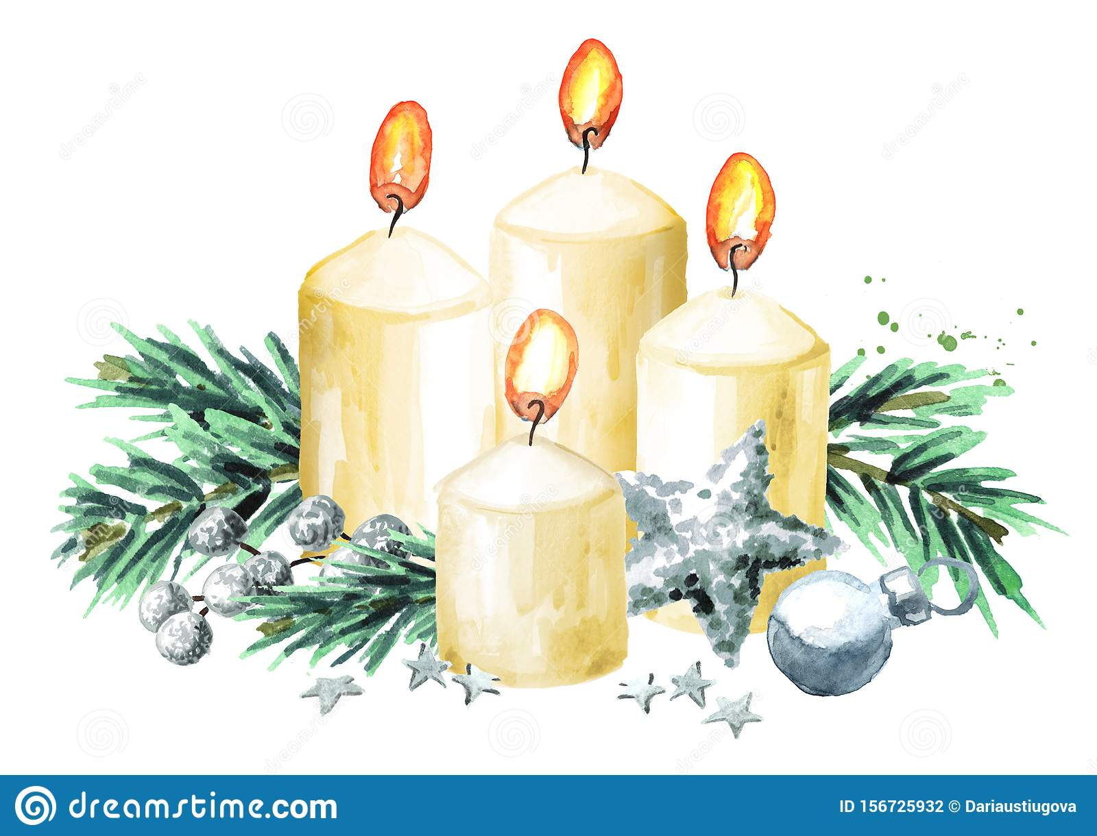 Four Advent Christmas Candles With Decoration Fourth Advent Watercolor Hand Drawn Illustration Isolated On White Background Stock Illustration Illustration Of Advent Hand 156725932