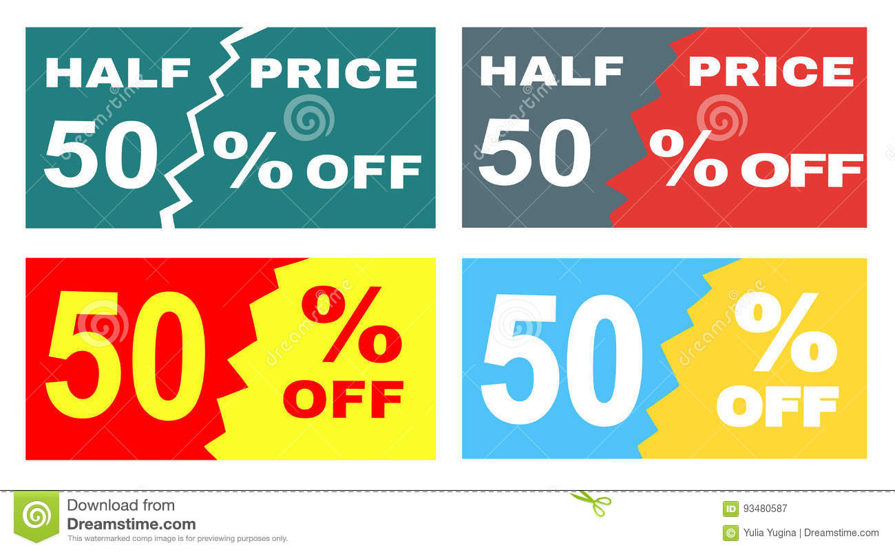 download four advertisements leaflets flyers sale sticker with advertising offer stock vector