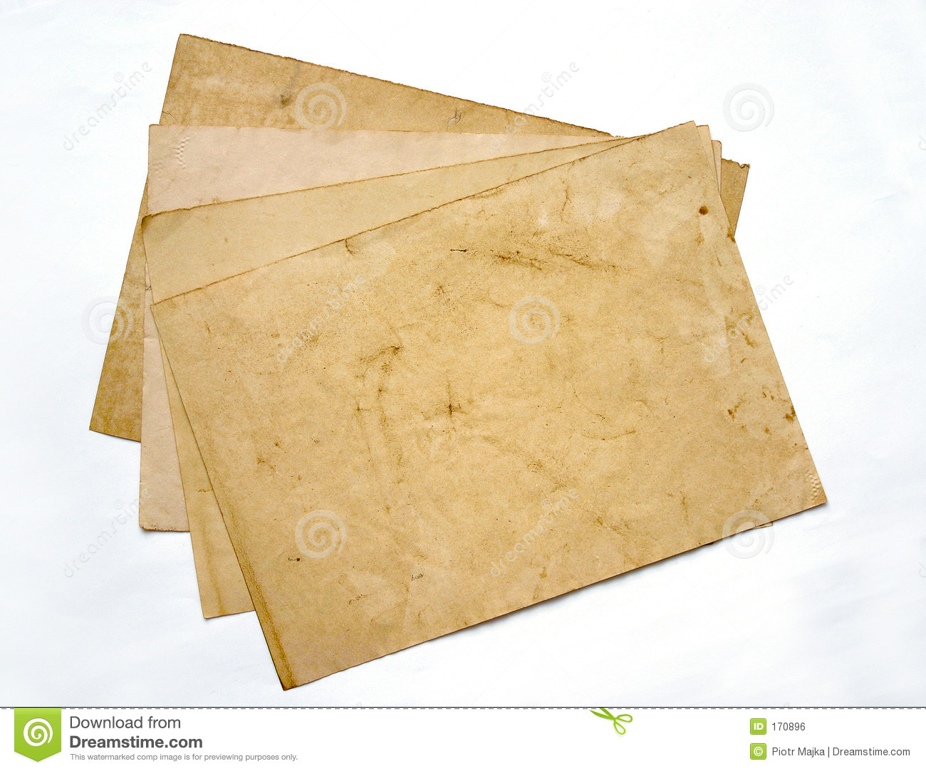 Four aged sheets of paper