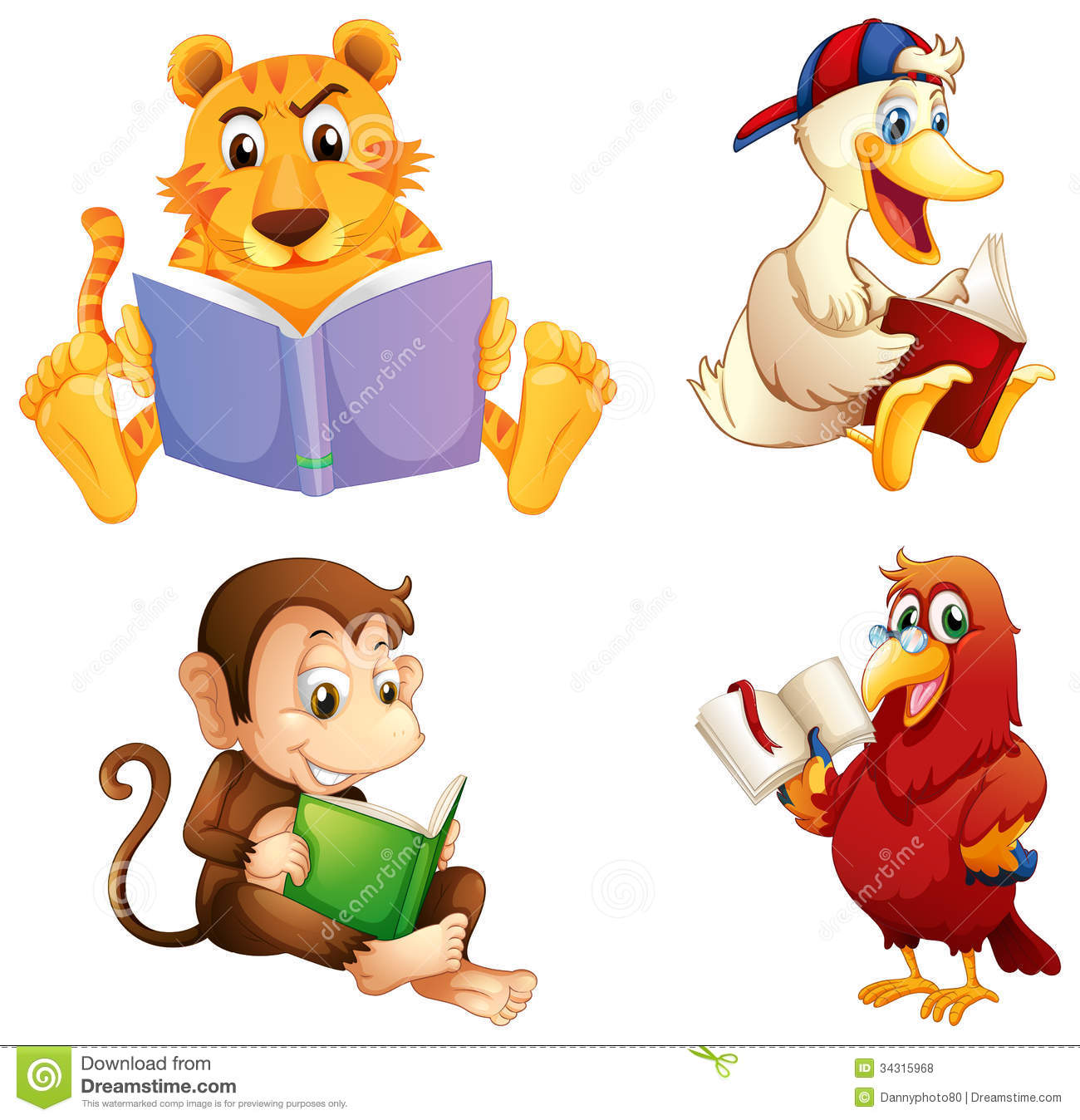 Four animals reading stock vector. Illustration of home ...