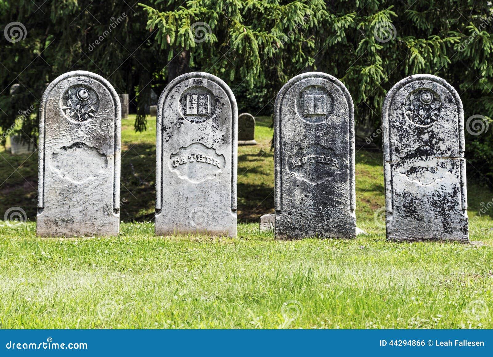 Doom Patrol Doomed [Beast Boy] Four-antique-gravestones-weathered-historic-headstones-row-classic-gravestone-shape-44294866