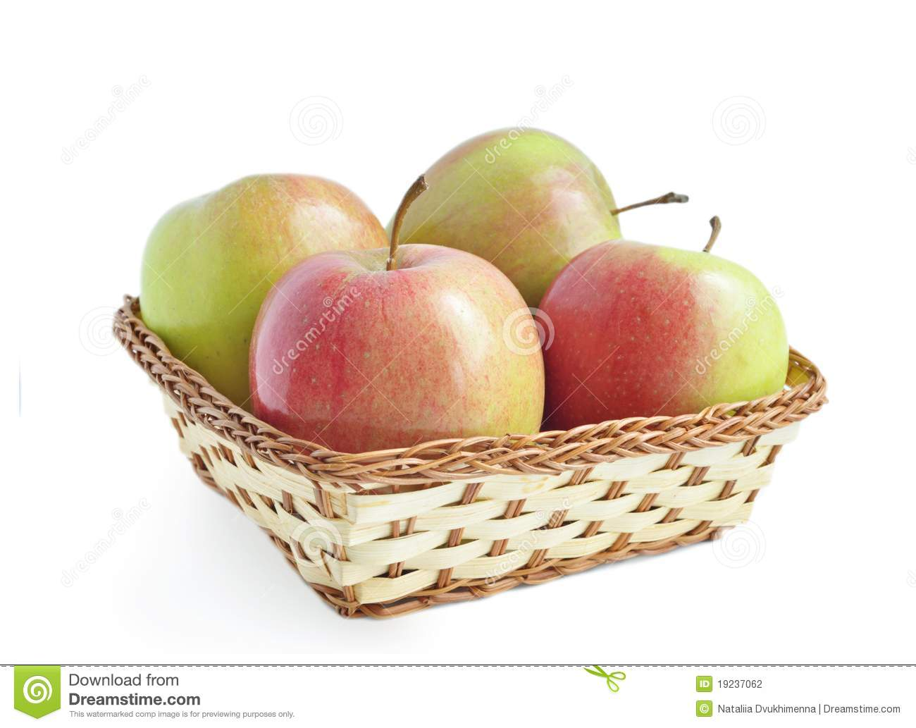 four apples in the basket stock photo image of diet 19237062