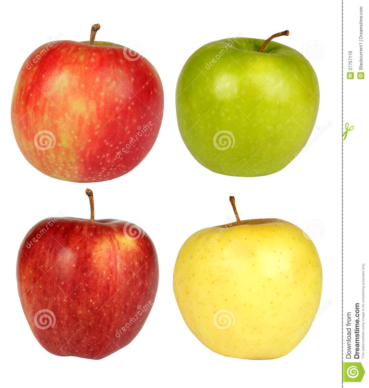 four apples on a white background stock image image of diet