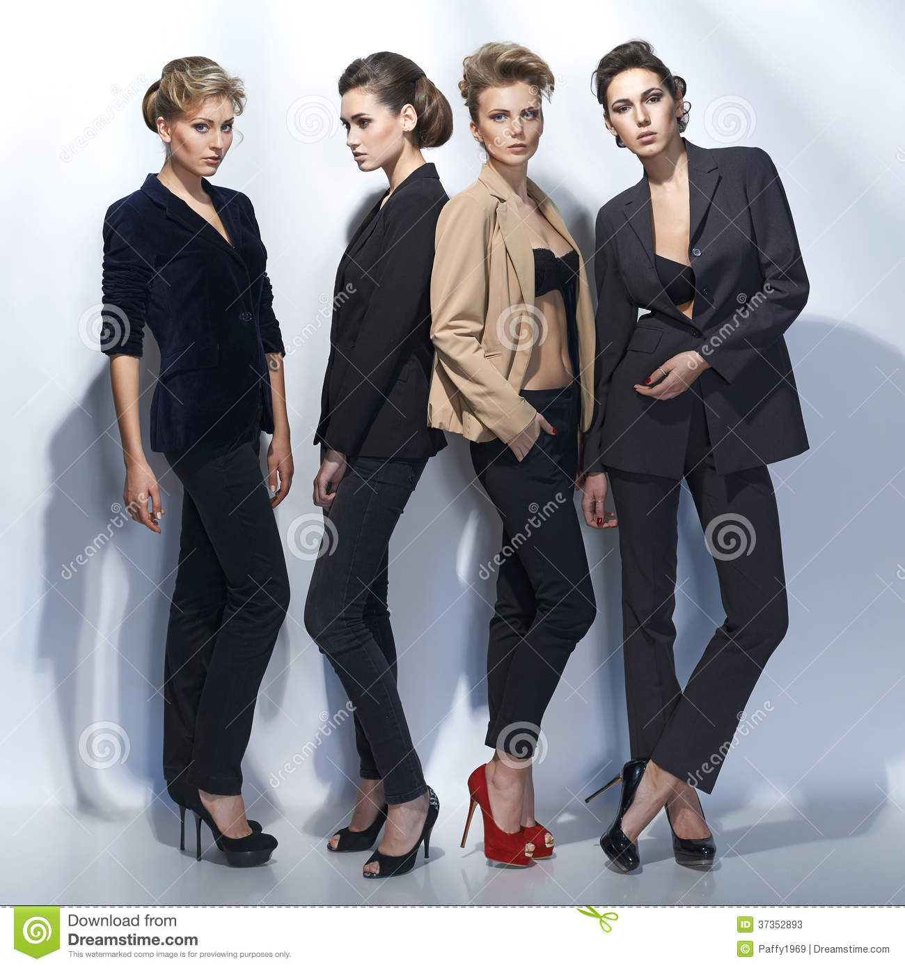 Four Beautiful Girls In Fashion Style Stock Photos Image 37352893