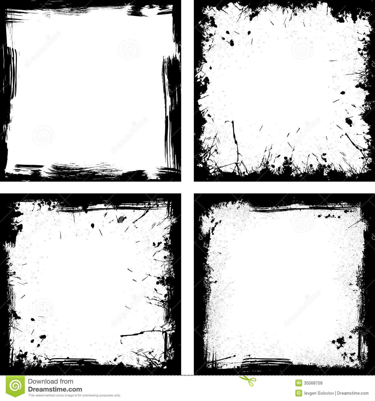 Four Black Frames Royalty Free Stock Images
