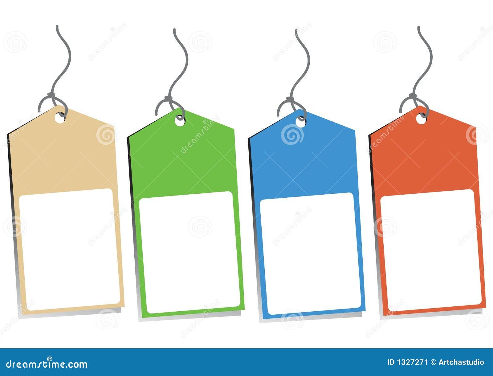 Four Blank Hang Tags Stock Image - Image: 1327271