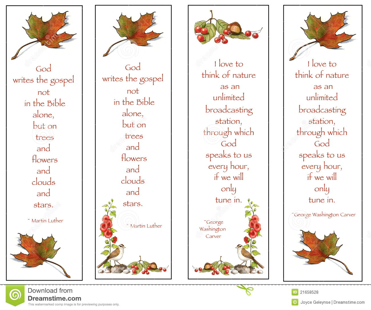 Four Bookmarks Nature Drawings With Quotes Royalty Free Stock Photos Image 21658528