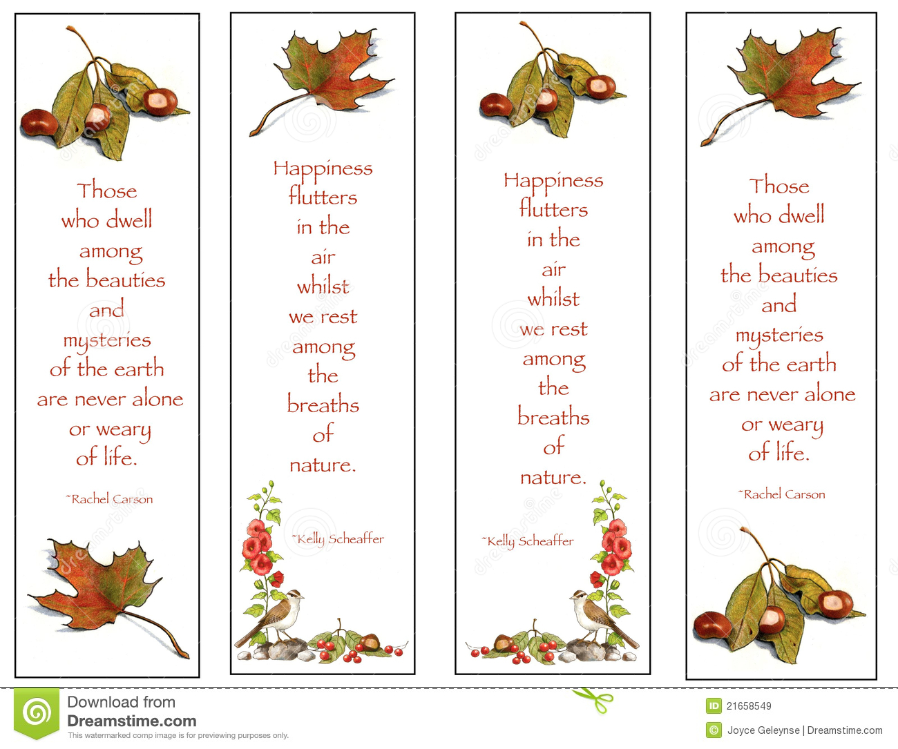 Four Bookmarks: Nature Drawings With Quotes Royalty Free ...