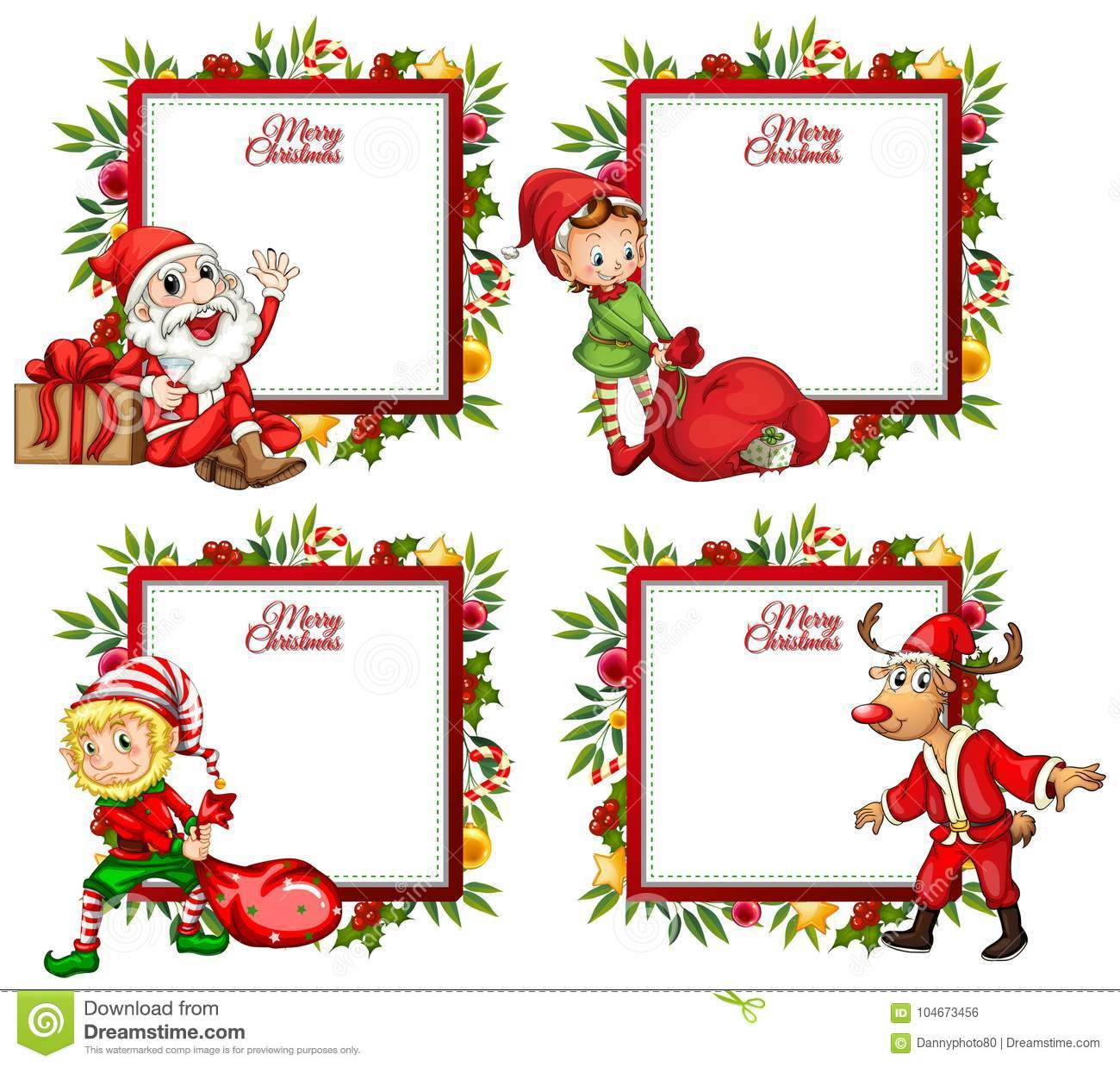 four border template with santa and elf stock vector illustration