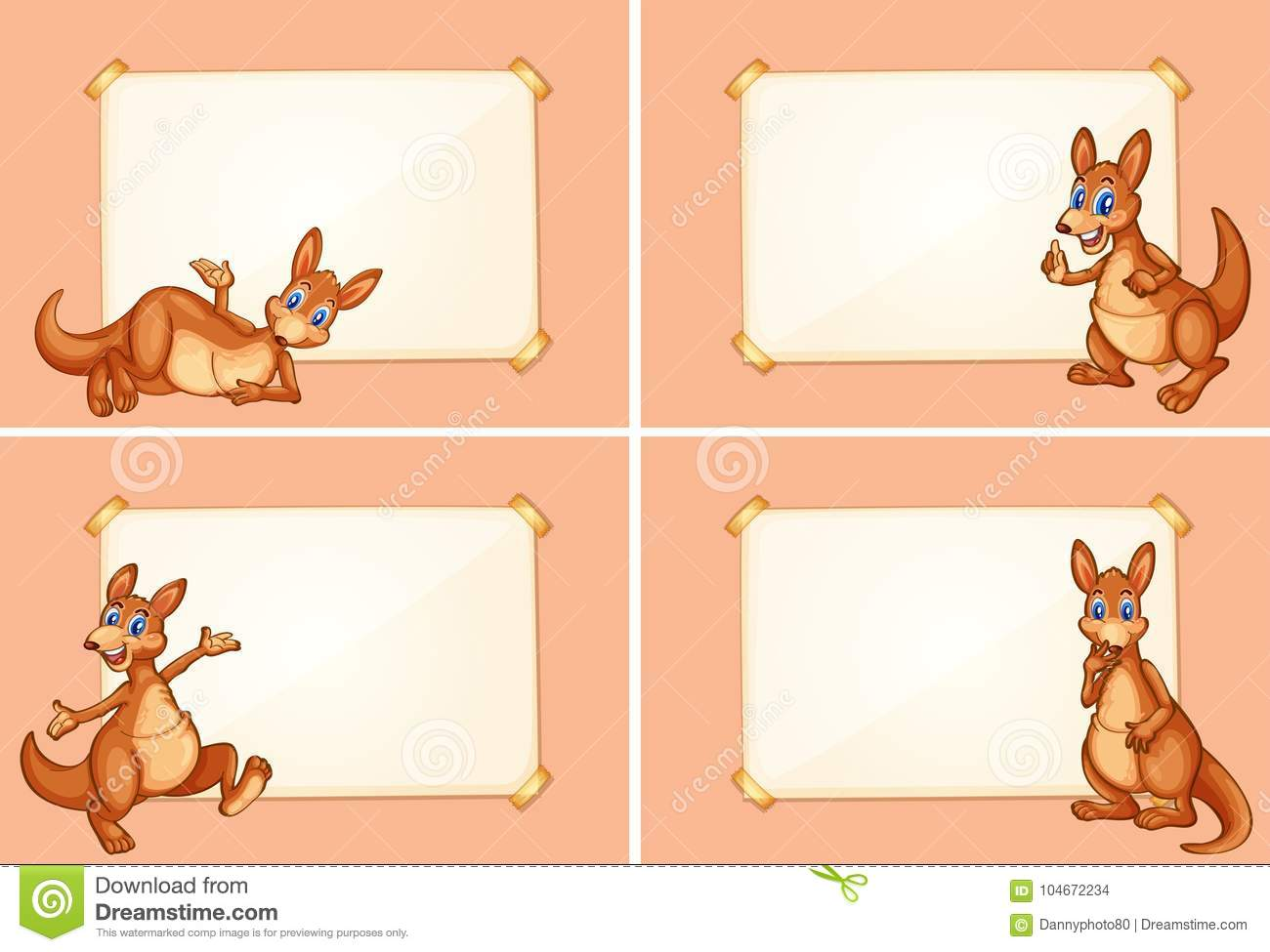 Four Border Templates With Cute Kangaroo Stock Vector Illustration