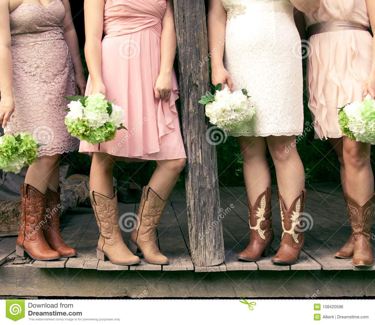 Country Bridesmaids with Cowboy Boots