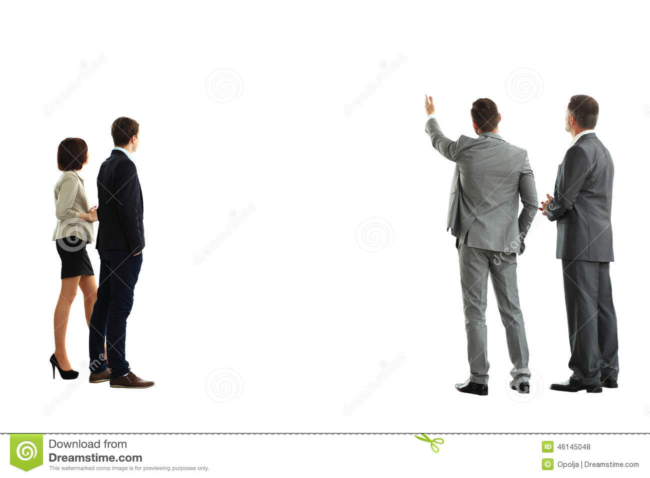 Four Business Mans From The Back Stock Photo