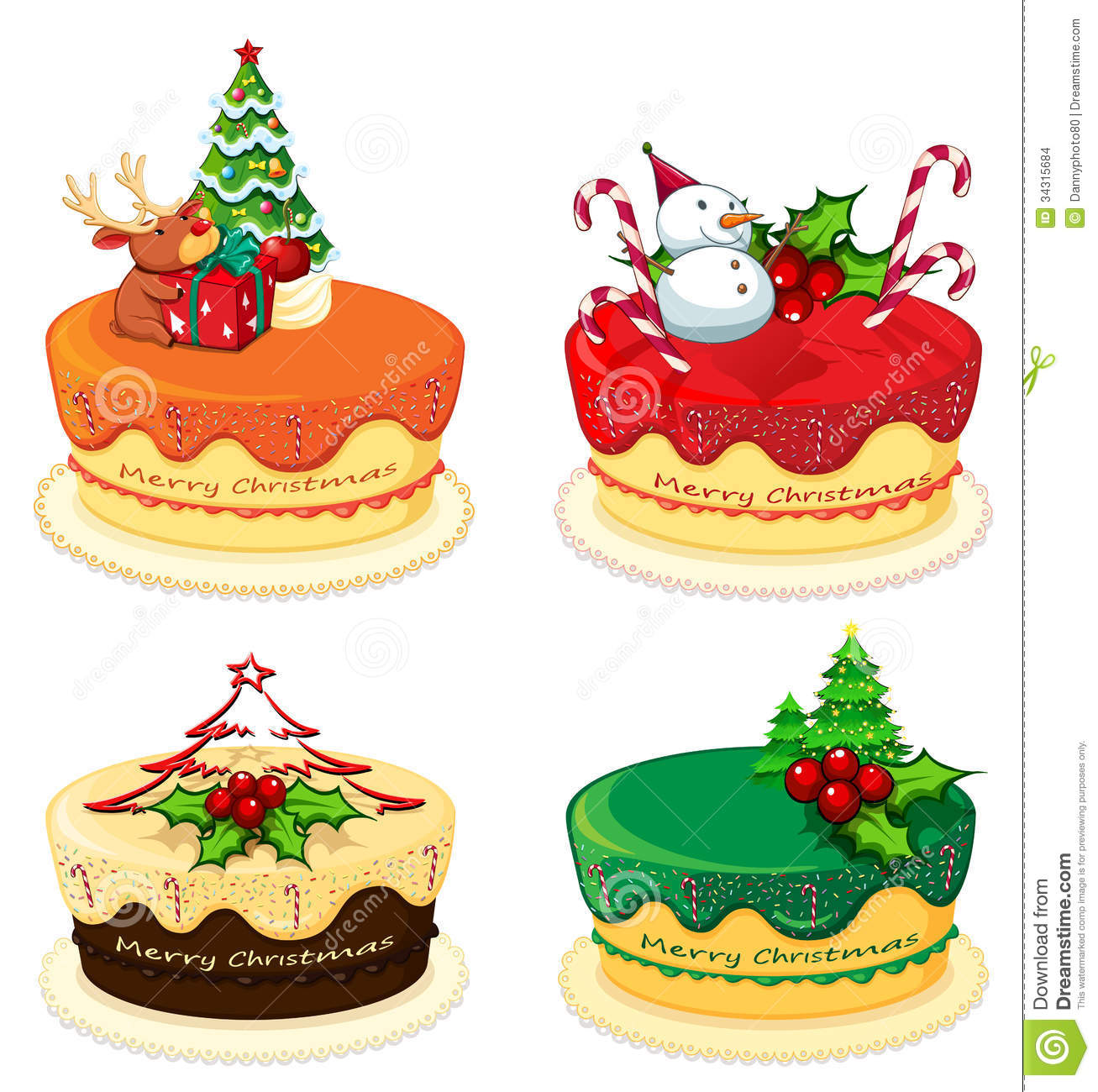 Four Cake Designs For Christmas Stock Images - Image: 34315684