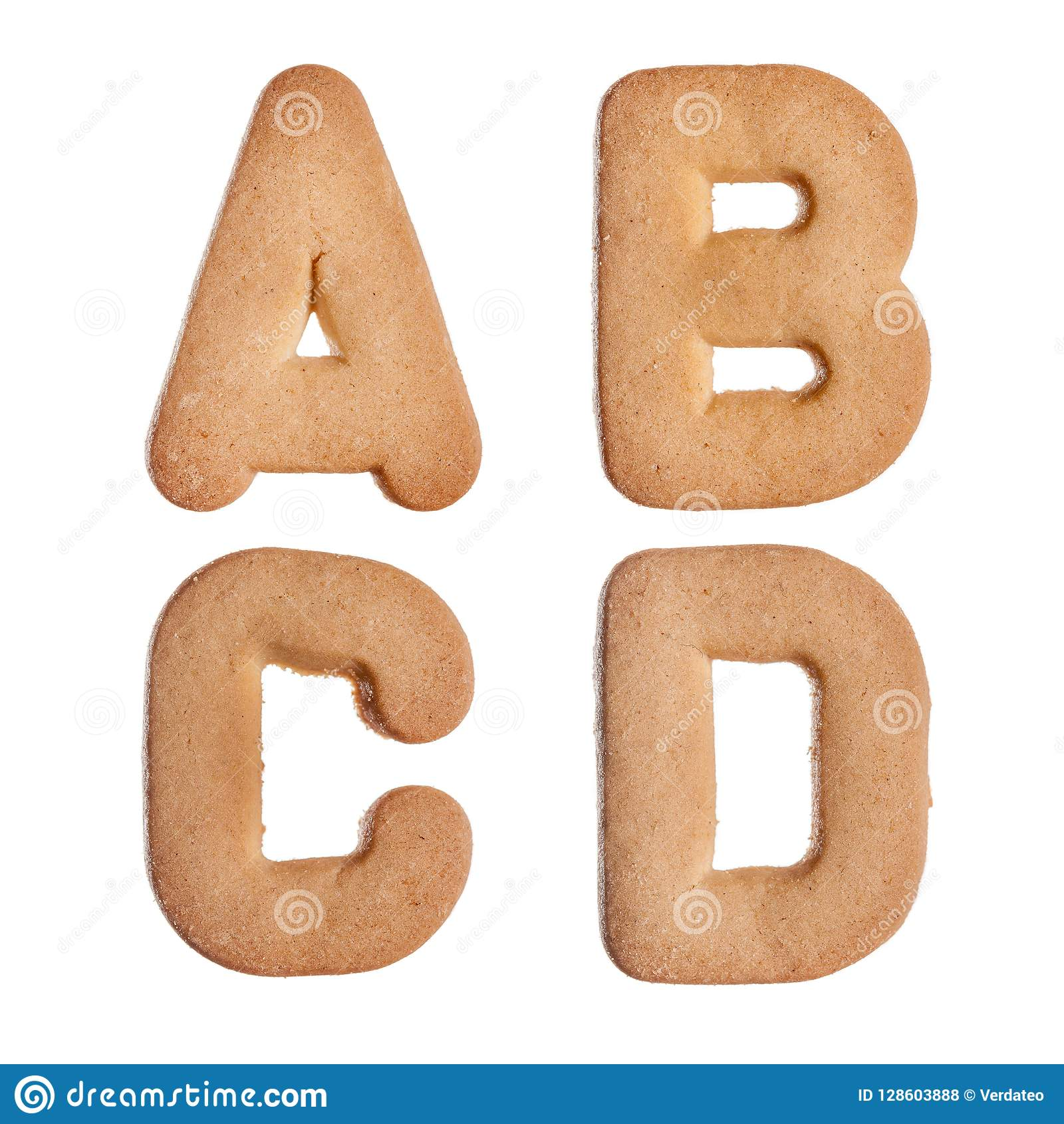 Four Capital Letters  A  B And C  D Stock Photo