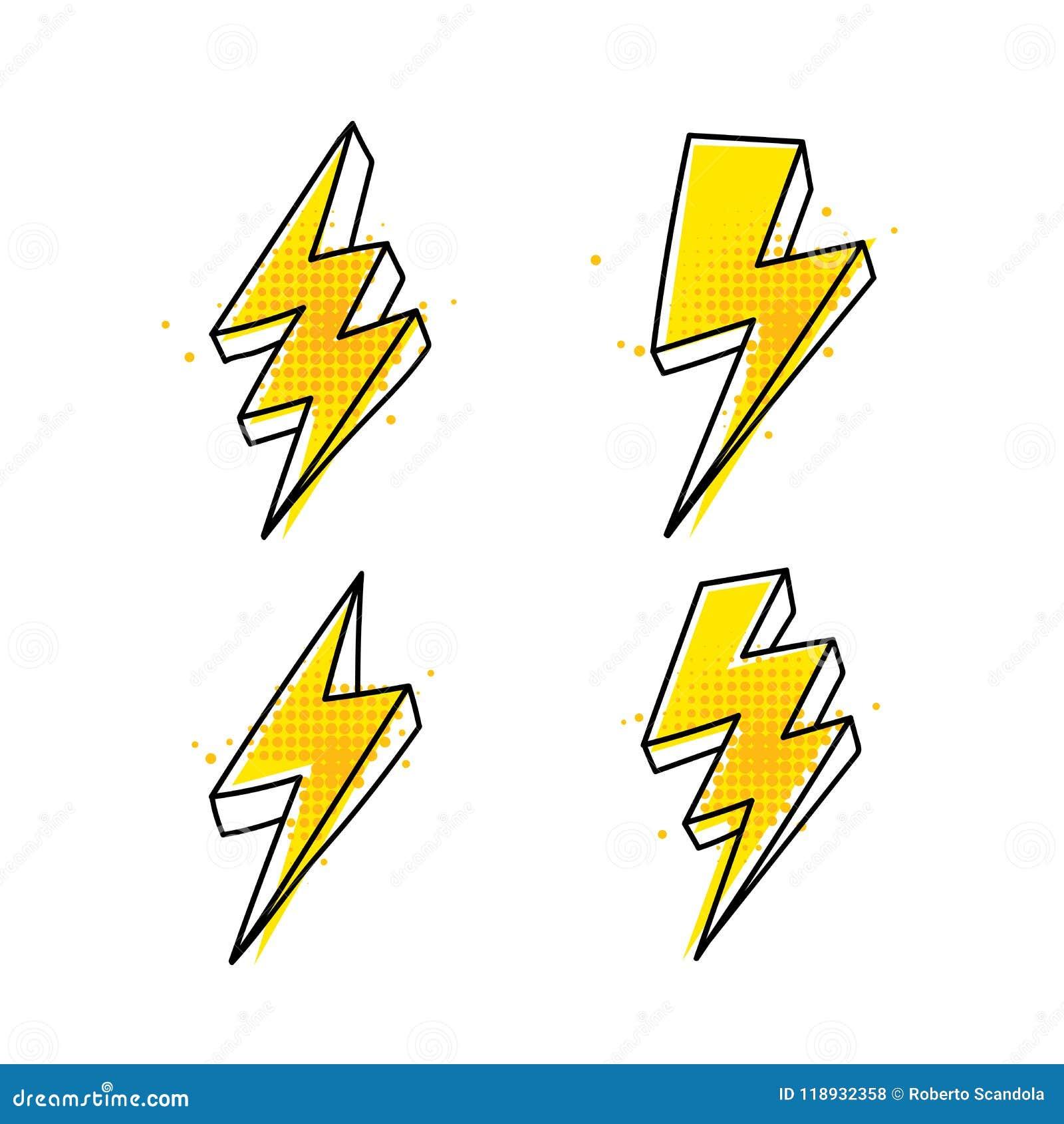 Four Lightning Bolt Hand Drawn Icons Stock Vector