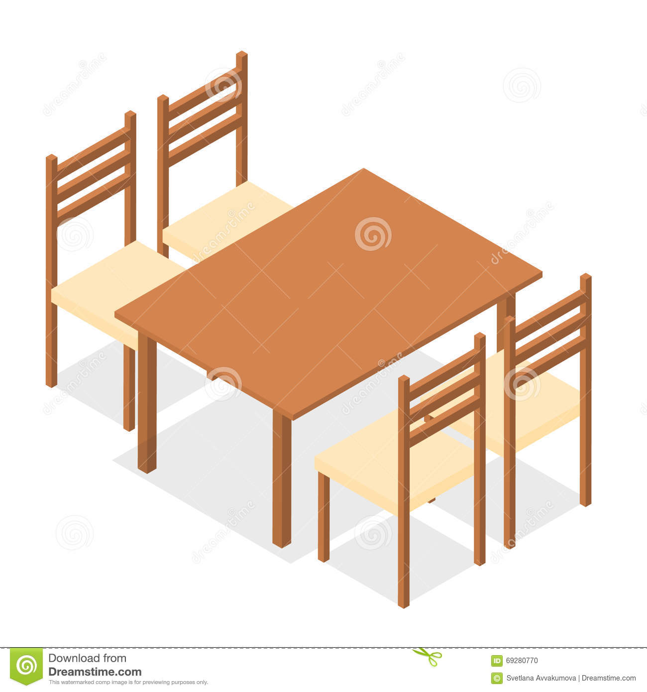 Chair and table isometric design cafe furniture vector for Table design vector