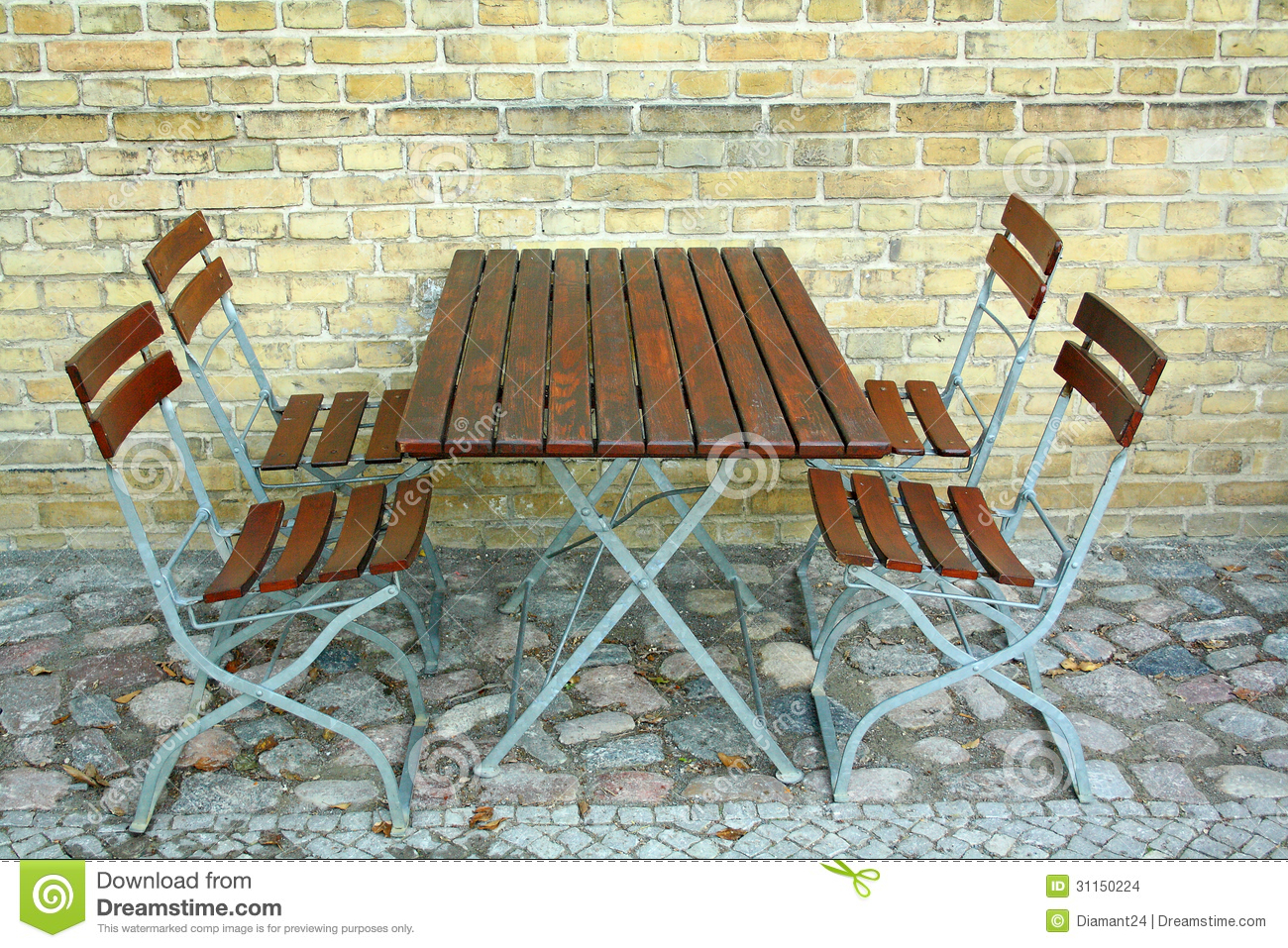 Garden chair top view - Four Chairs And Table In Beer Garden On Brick Wall Top View