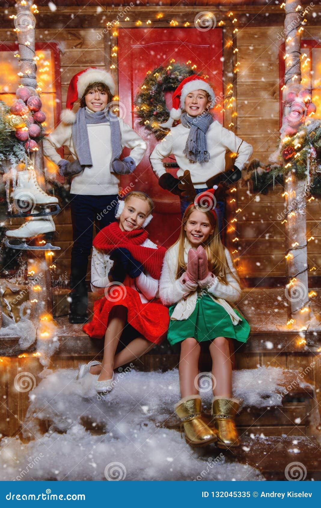 Four cheerful children