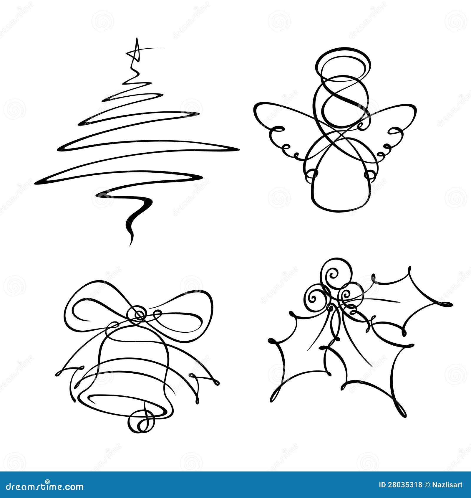 Single Line Clipart : Four christmas single line icons stock vector