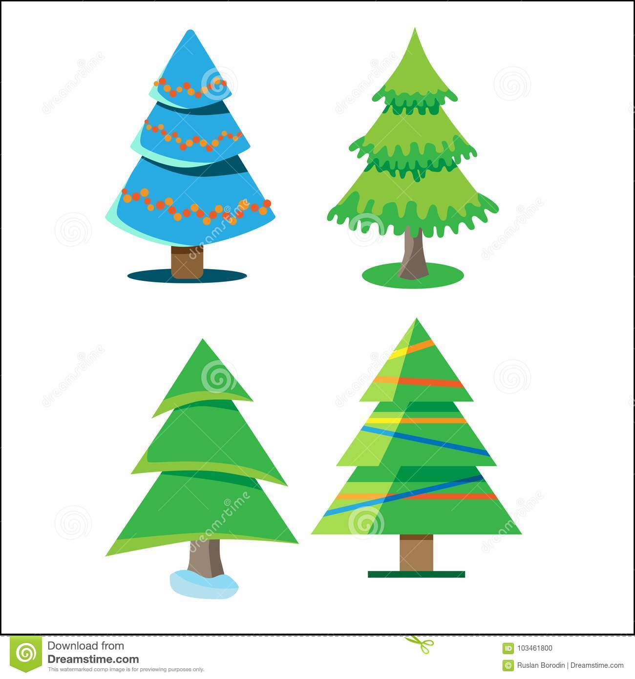 Four Christmas Trees With Different Colors And Shapes. Vector ...
