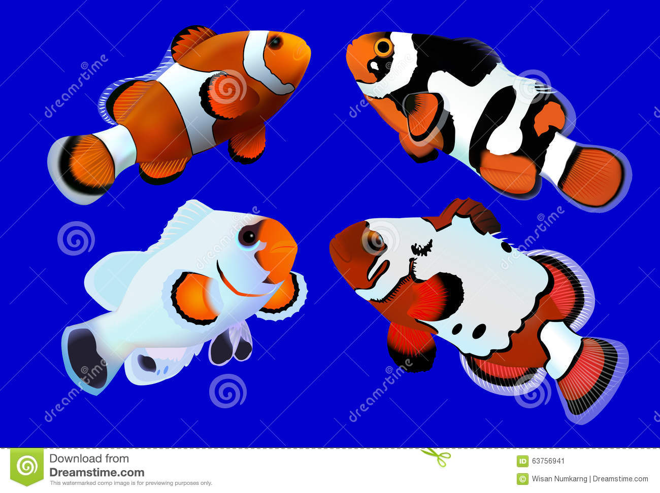 Four Clownfishes With Blue Background Stock Vector - Image: 63756941