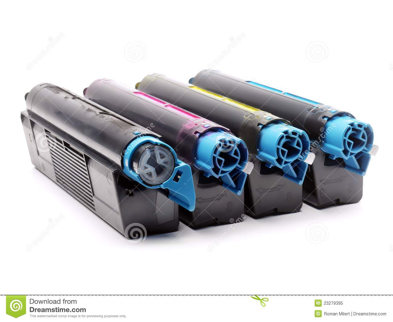 Color printers laser - Four Color Laser Printer Toner Cartridges Royalty Free Stock Photo