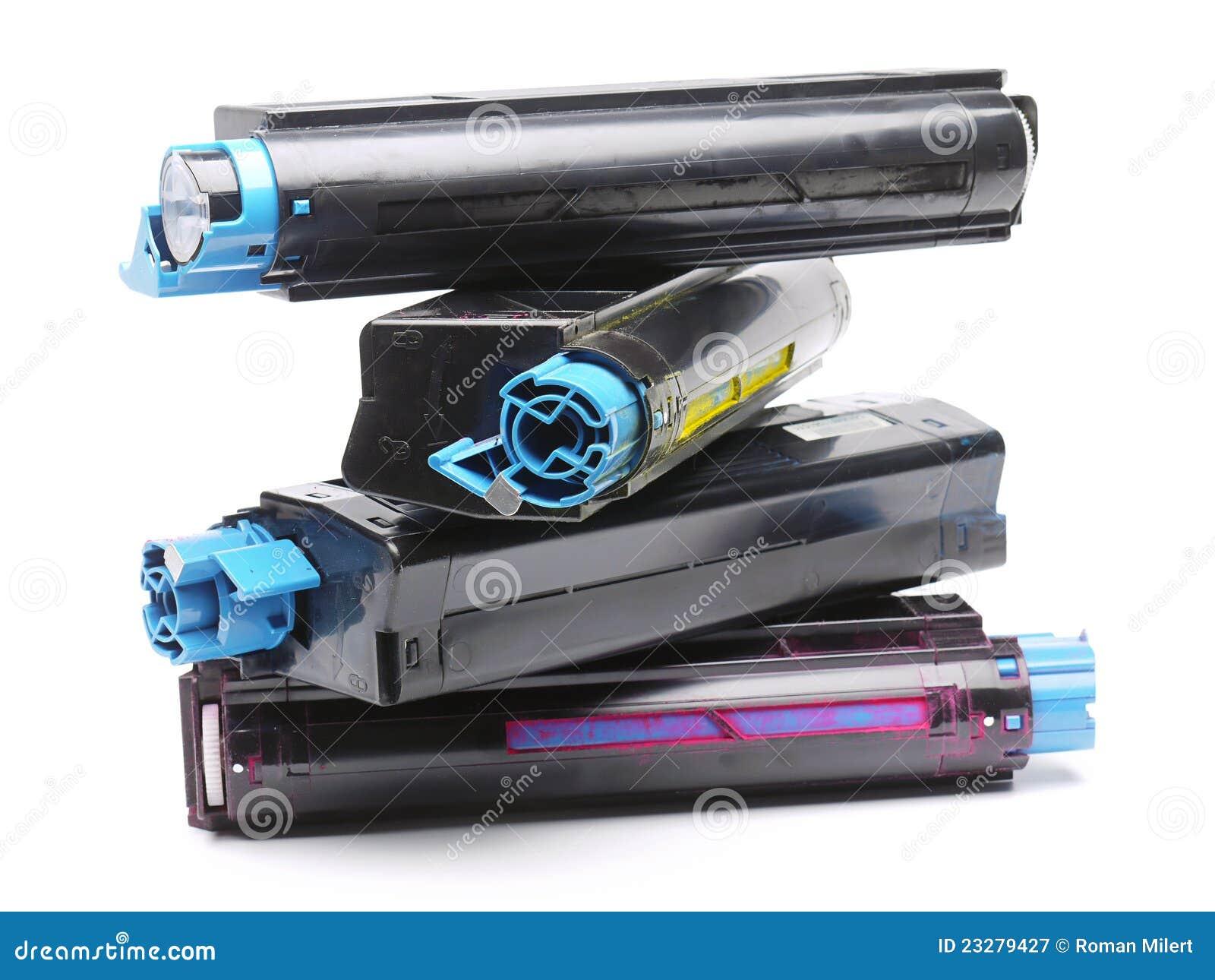 four color laser printer toner cartridges stock image. Black Bedroom Furniture Sets. Home Design Ideas