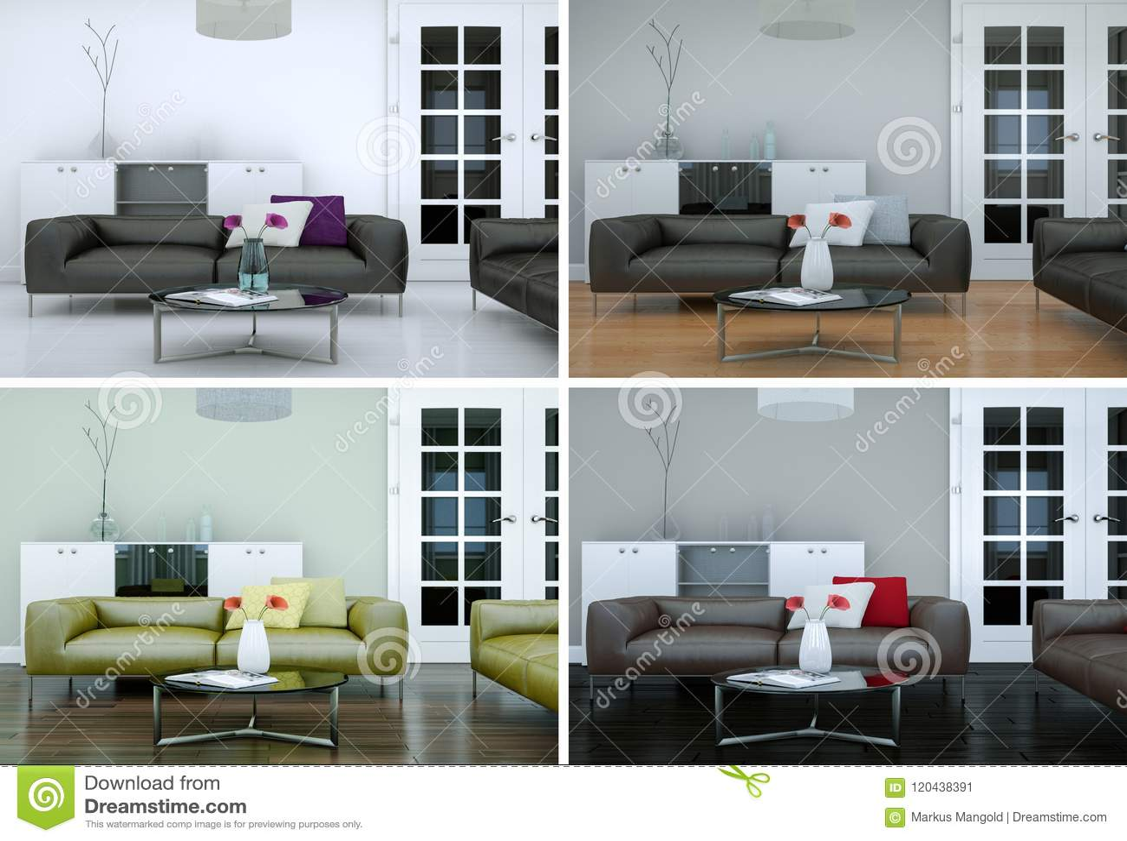 Four color variations of modern interior loft design stock