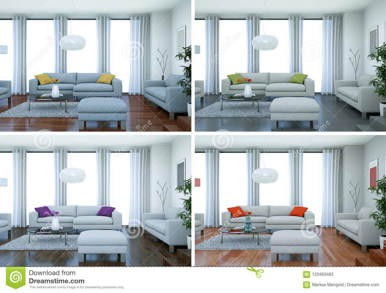 Four color variations of modern interior loft design stock