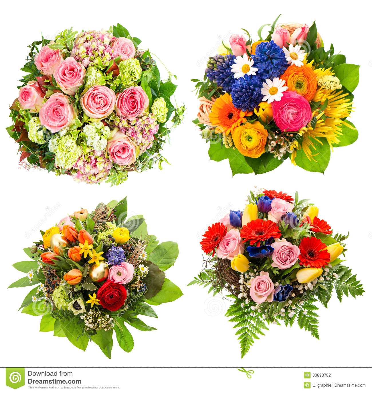 Easter Flowers Wedding: Four Colorful Flowers Bouquet On White Stock Photo