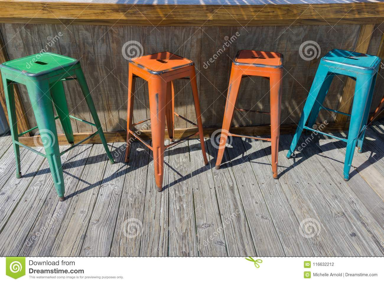 Terrific Four Colorful Metal Bar Stools Stock Photo Image Of Stools Machost Co Dining Chair Design Ideas Machostcouk